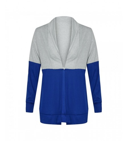 Collarless Long Sleeve Color Blocking Open Front Women Cardigan