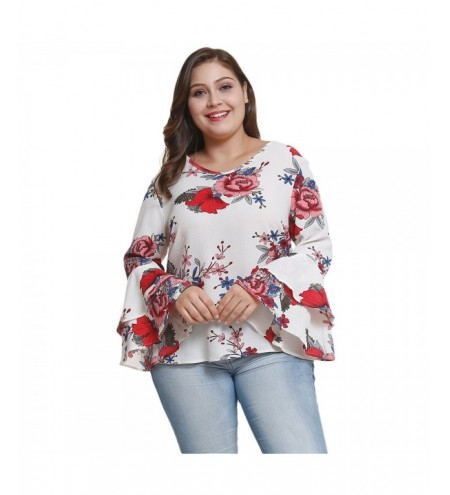Round Neck Long Bell Sleeve Floral Print Plus Size Women Chiffon Blouse