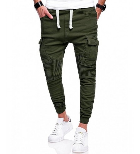 Pleated Elastic Cuffed Drawstring Cargo Pants