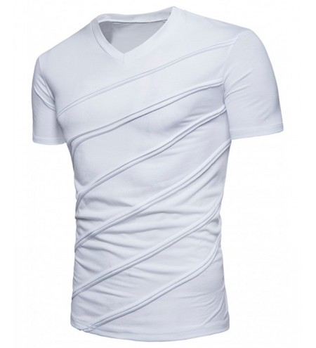 V Neck Diagonal Line Solid Color T-shirt