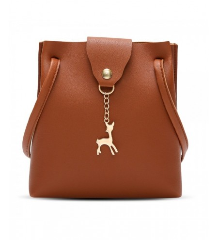 Fashion PU Leather Fawn Crossbody Bucket Bag for Women
