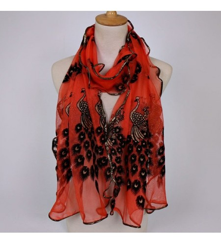 Peacock Floral Embellished Fine Gauze Chiffon Scarf