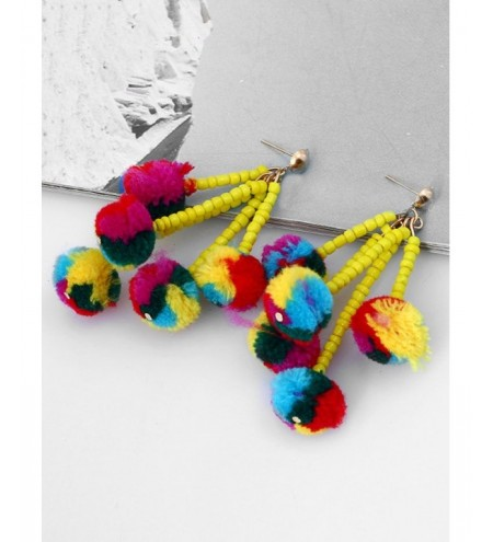 Beaded Chain Colorful Fuzzy Ball Drop Earrings