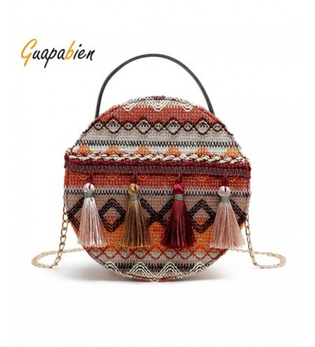 Guapabien National Style Round Shape Tassel Metal Chain Shoulder Bag for Women