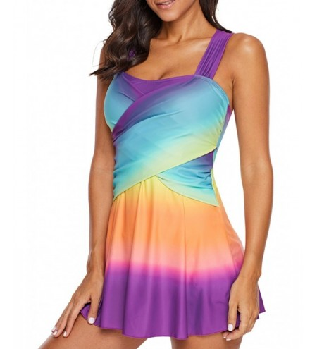 Gradient Print Crisscross Back Tankini Sets