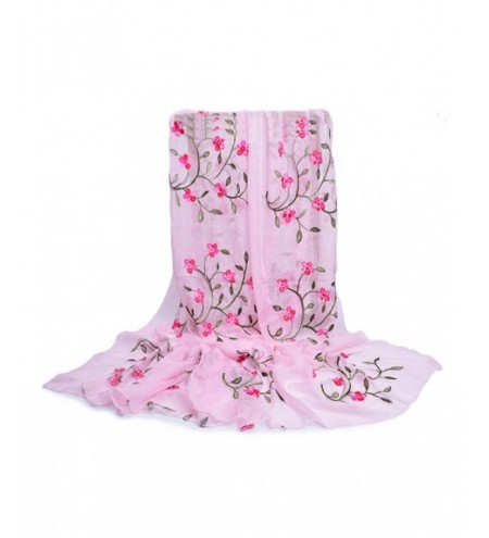 Flower Embroidery Silky Spring Autumn Scarf