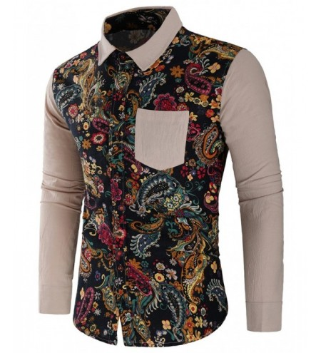 Paisley Print Patchwork Long Sleeve Shirt