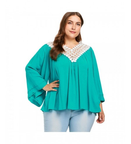 Plus Size Lace Up V Neck Flare Sleeve Blouse