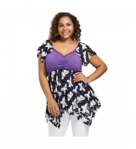 Plus Size Butterfly Print Empire Waist Handkerchief T-shirt