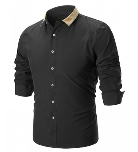 Slim Fit Contrast Color Long Sleeve Shirt
