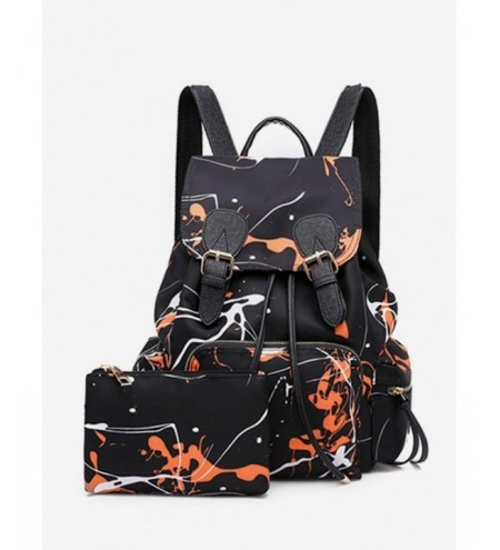 Scrawl Pattern Nylon Double Buckle Backpack