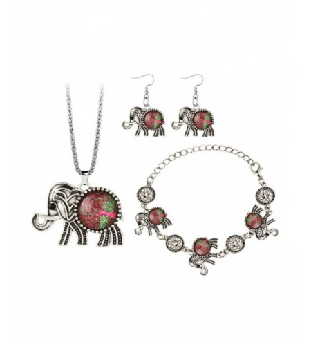 Vintage Elephant Gem Embellished Necklace Earring Bracelet Set