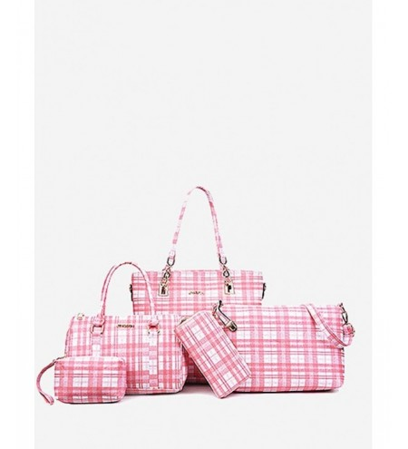 5 Pieces Plaid Pattern Bags
