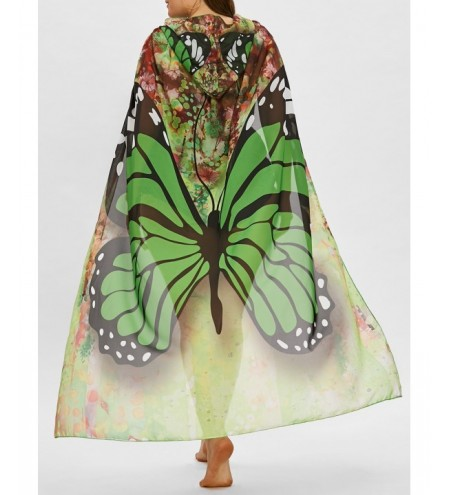 Plus Size Butterfly Print Sheer Beach Cover Up