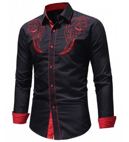Chest Embroidery Edge Contrast Long Sleeve Shirt