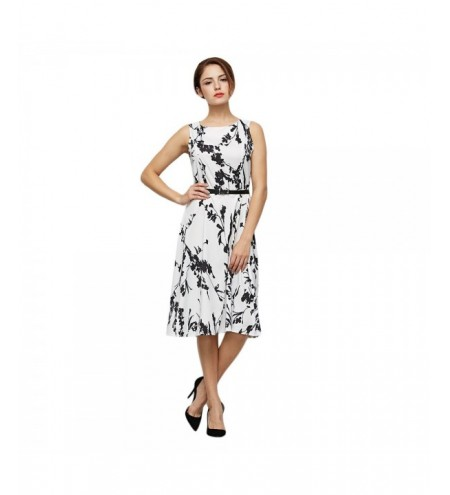 Vintage Style Round Collar Sleeveless Floral Print Sheath Dress with Belt for Ladies