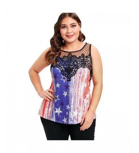 Plus Size American Flag Print Lace Panel Top Tee