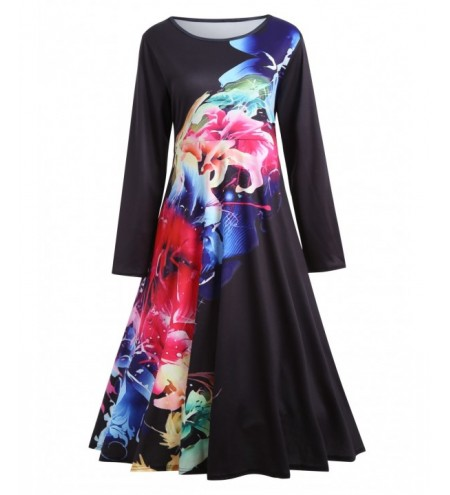 Plus Size Flower Painted Long Sleeve Dress