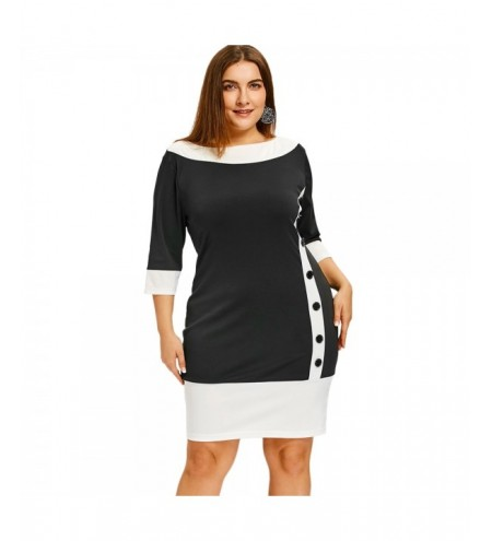 Plus Size Color Block Bodycon Dress with Button