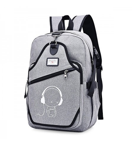 Cute Print Anti-theft Backpack with USB Port for Men