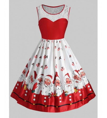Plus Size Christmas Santa Claus Vintage Flare Dress
