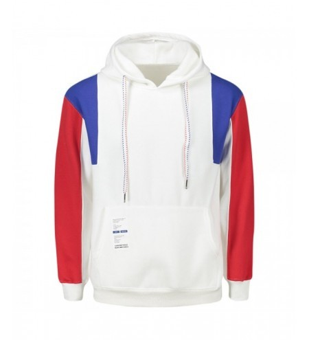 Label Embellished Color Block Drawstring Hoodie