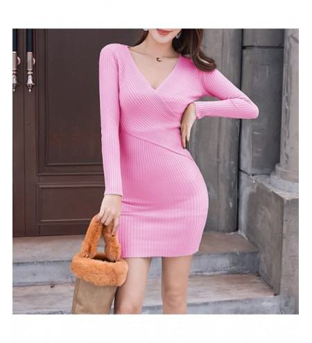 2019 New Fashion V-Neck Knit Dress Sexy Sweater Long Slim Bottoming Dress