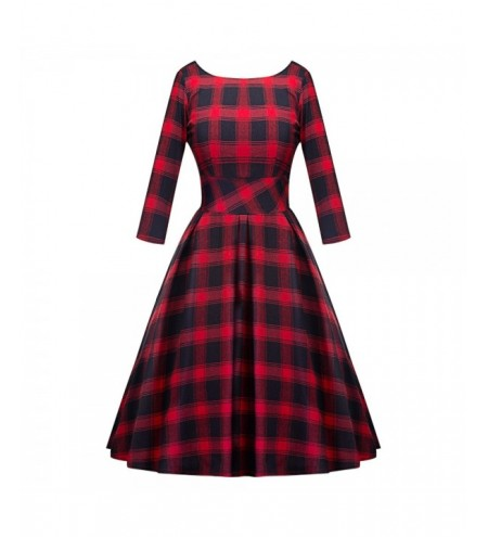 Round Collar Long Sleeve Backless Plaid A-line Women Dress