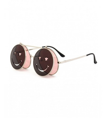 Funny Smiling Face Flip-open Round Shape Sunglasses