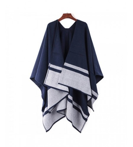 Double Blue Striped Scarf Shawl thickened