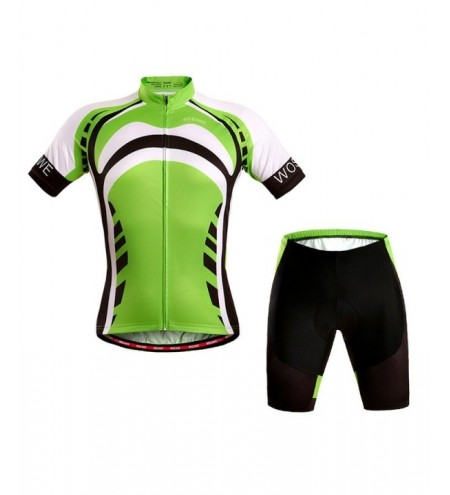 Stylish Outdoor Short Sleeves Green Cycling Suits For Unisex