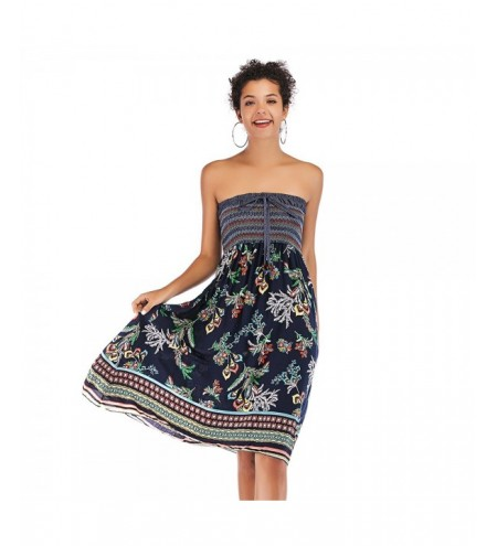 Strapless Color Blocking Floral Print Shirring Dress Women High Waist Skirt