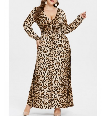 Plus Size Leopard Long Sleeve Dress