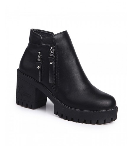 Women Fashion PU Ankle Sexy Boots Waterproof Block High Heel Shoes