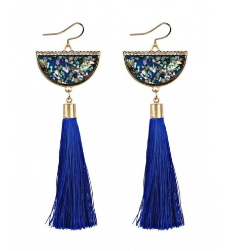 Half Round Fish Hook Earrings with Tassel Pendant