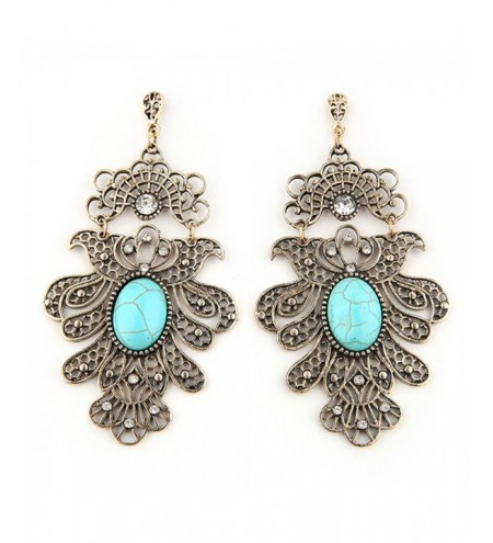 Rhinestone Decor Hollow Out Drop Earrings