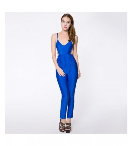 Sexy Spaghetti Strap Solid Color Backless Women's Jumpsuits