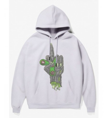Cartoon Fingertip Gyro In Hand Print Fleece Hoodie