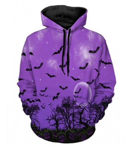 Halloween Pumpkin and Bat Print Hoodie