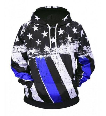 Stars and Stripes Print Pouch Pocket Loose Hoodie