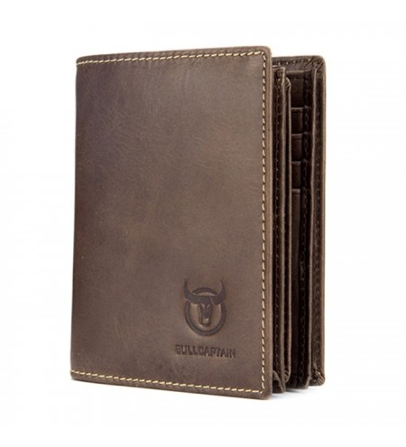 BULLCAPTAIN Minimalist Leather Bifold Wallet for Men