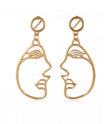 Side Face Metal Stud Hollow Out Drop Earrings