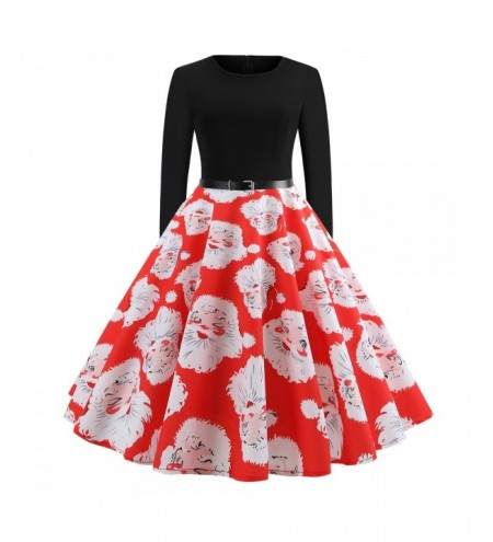2018 Long Sleeve Hepburn Style Christmas Print Dress