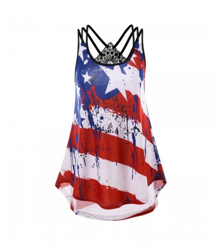 American Flag Print Strappy Tank Top