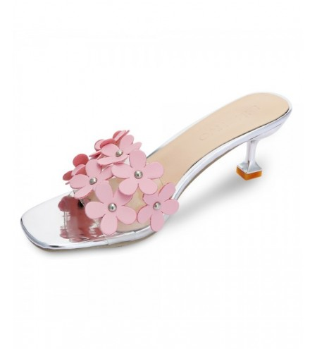 Open Toe Flower Stiletto Heel Sandals Women Slippers