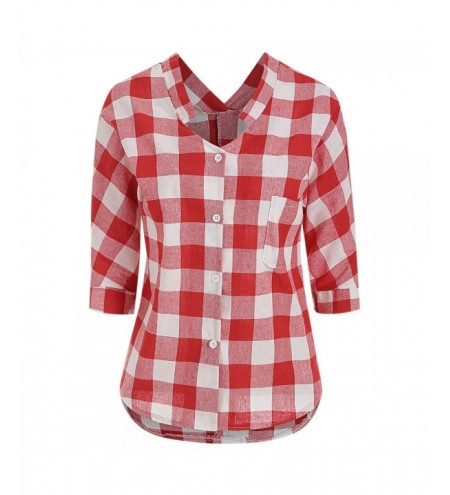 Front Pocket Plaid High Low Blouse