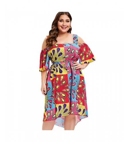 Plus Size Open Shoulder Peacock Feather Print Dress