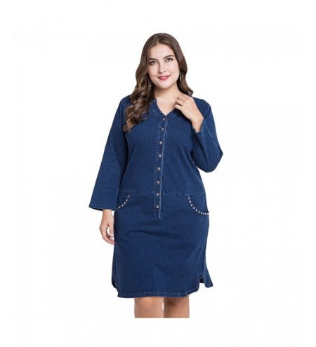 Plus Size Denim Women Long Sleeve Buttons Casual Female Dress with Pockets