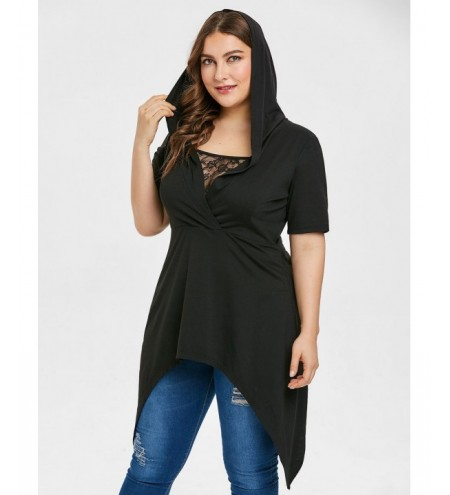 Plus Size Lace Panel Hooded T-shirt