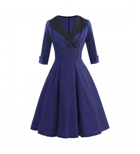 Vintage Shawl Collar Fit and Flare Dress